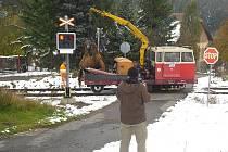 Likvidace následků nehody v Bratkovicích, kde se vlak srazil se stádem koní.