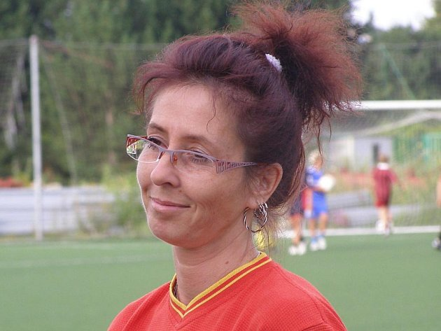 Z tréninku ženského týmu 1.FK Příbram. Trenérka Renata Šmídová.