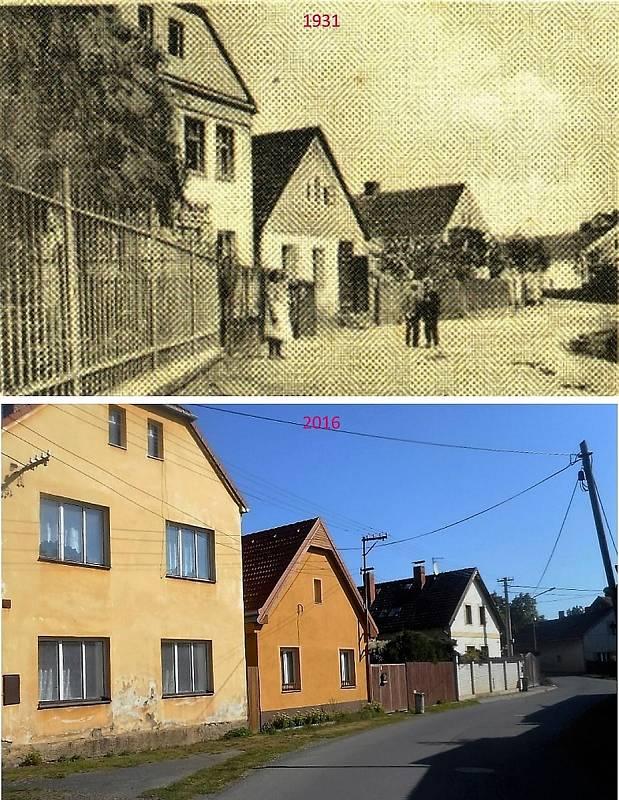 Pičín - V ulici směřující do Rosovic stál obchod U Saxlů a pekařství.