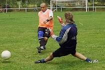 V utkání s Romantikou musel brankář Marek Rydrych v dresu Tulamors Boys třikrát kapitulovat.