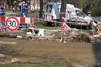 Havárie vody na příbramském sídlišti.