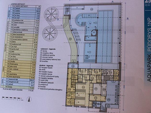 Sedlčanský aquapark je plánován jako přízemní budova se třemi plaveckými drahami a příslušenstvím.