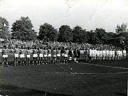 Z historie SK SPARTAK Příbram. Rok 1961. Zápas Spartak - Guinea.