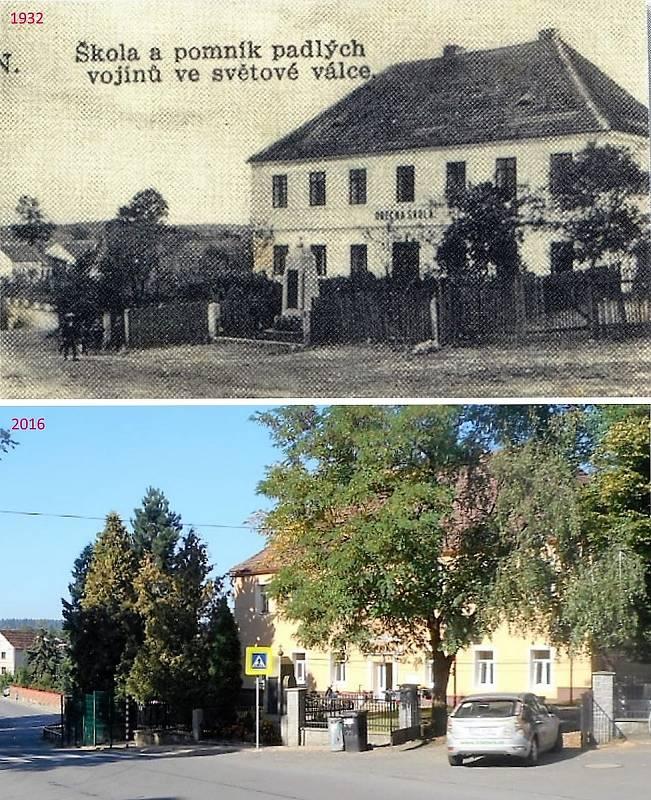 Pičín - Škola a pomník padlích vojínů ve světové válce.