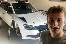 Automobilový závodník Jan Černý a jeho závodní speciál Škoda Fabia Rally2 evo.