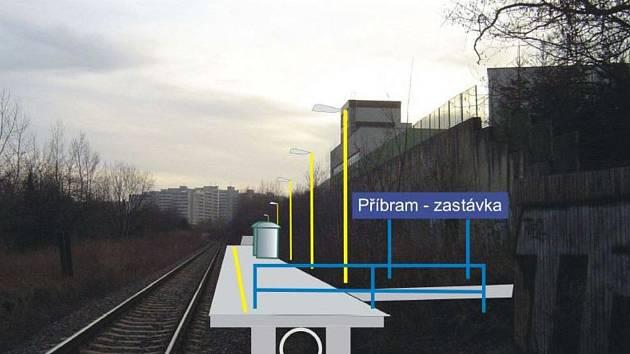 """Návrh na podobu železniční zastávky """"Příbram - sídliště""""."""