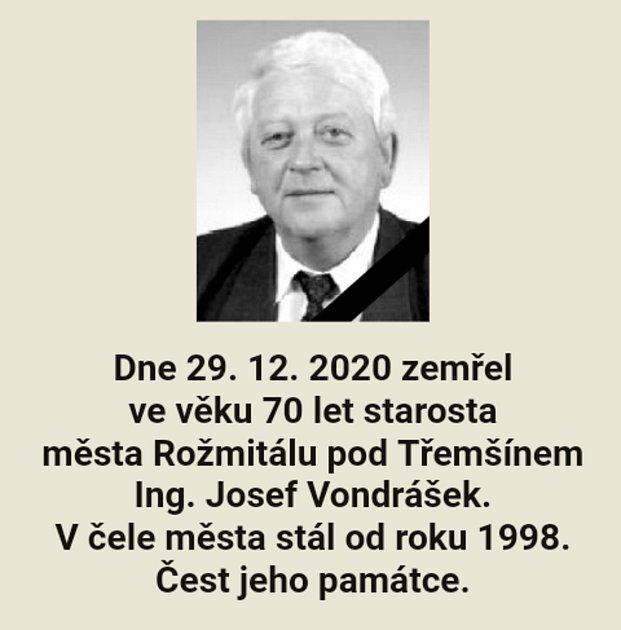 Oznámení oúmrtí starosty Rožmitálu pod Třemšínem Josefa Vondráška.