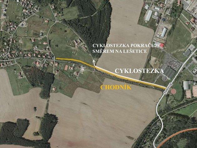 Stezka povede ze Žežic na křižovatku s Brodskou ulicí