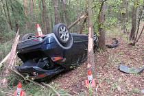 Auto přerazilo několik stromů.