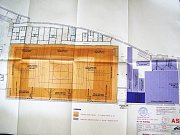 Nákres vnitřního vybavení haly.