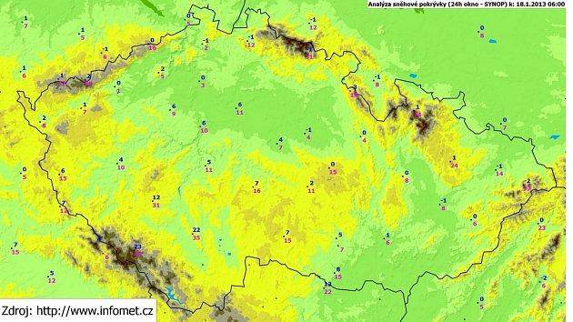 Sníh k 18. lednu v České republice.