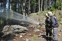 Hašení požáru v lese v Brdech.