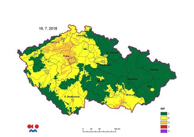 Mapa nebezpečí požáru vČR pro čtvrtek 19.7.