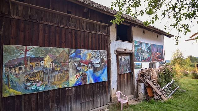 Výstava obrazů Lukáše Kudrny v Železném Újezdu.