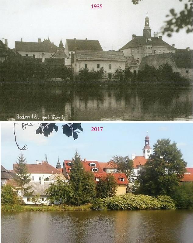 Rožmitál pod Třemšínem - přes rybník Kuchyňku.