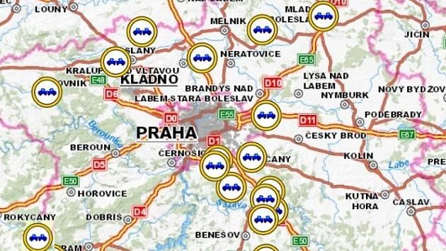 Mapa míst, kde došlo k nehodám.
