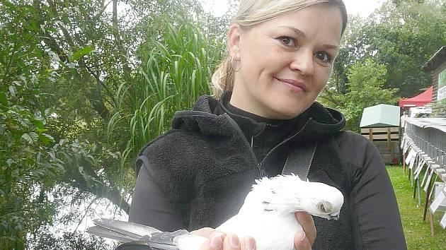 CHOVATELKA a posuzovatelka holubů Drahomíra Hrubá s krátkozovým druhem holuba, který na Povltavské výstavě v Sedlčanech získal čestnou cenu.