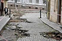 Škody po přívalovém dešti v centru Příbrami.