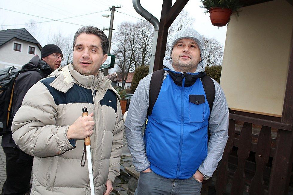 Dvanáctý ročník bohutínského pochodu na Tok. Účastníci zleva Jiří Oktábec a Zdeněk Kraft.