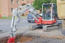 Oprava Riegrovy ulice v Příbrami.