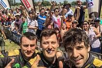 Martin Macík, František Tomášek a Michal Mrkva v cíli Rallye Dakar 2016.