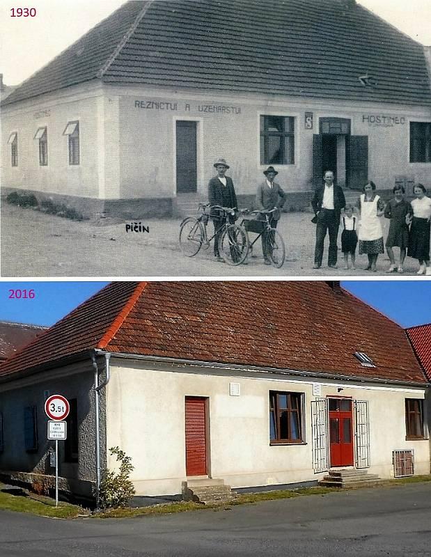 Pičín - Hostinec U Jaňourů s řeznictvím, v současnosti podle publikace sklad nábytku.