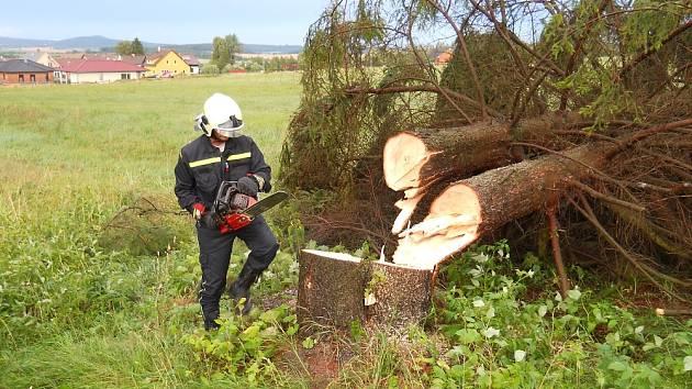 Zásah obecnických hasičů v Oseči při nedělní bouři. Vítr vyvracel stromy.