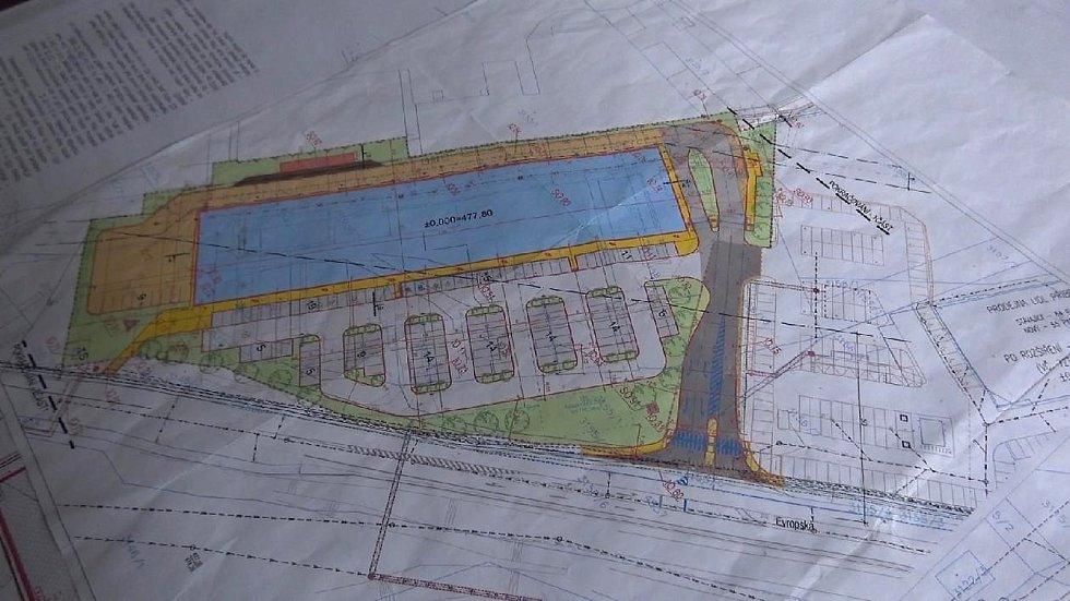Začátek stavby nového obchodního centra v Příbrami.