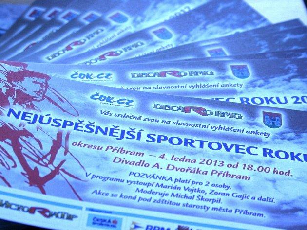 Vstupenky na vyhlášení ankety Nejúspěšnější sportovec Příbramska roku 2012.