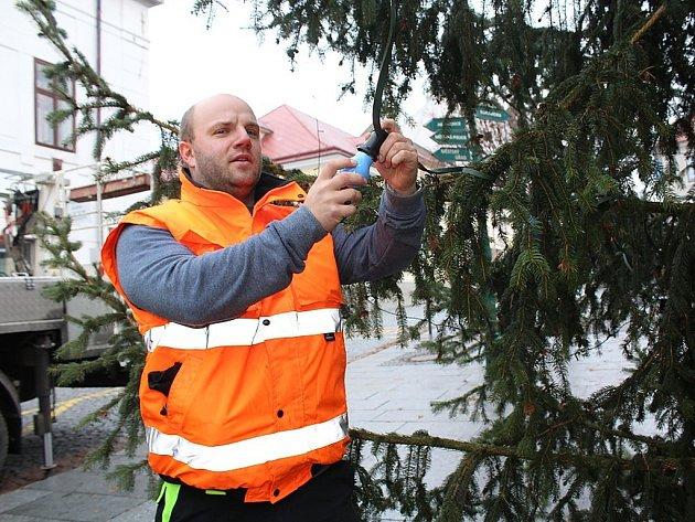 Instalace žárovek na vánoční strom na Václavském náměstí v Pražské ulici v Příbrami.