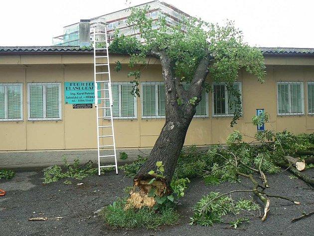 Padající strom u nemocnice v Příbrami poškodil střechu firmy.
