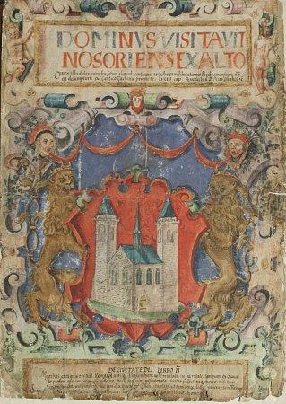 Znak města Příbrami zroku 1580, jak byl poprvé barevně proveden vpříbramském graduálu (zpěvníku), který si Příbramští nechali pořídit po svém povýšení na královské horní město (1579).