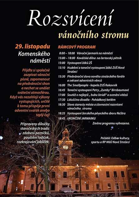 Pozvánka na rozsvícení vánočního stromku - Nové Strašecí.