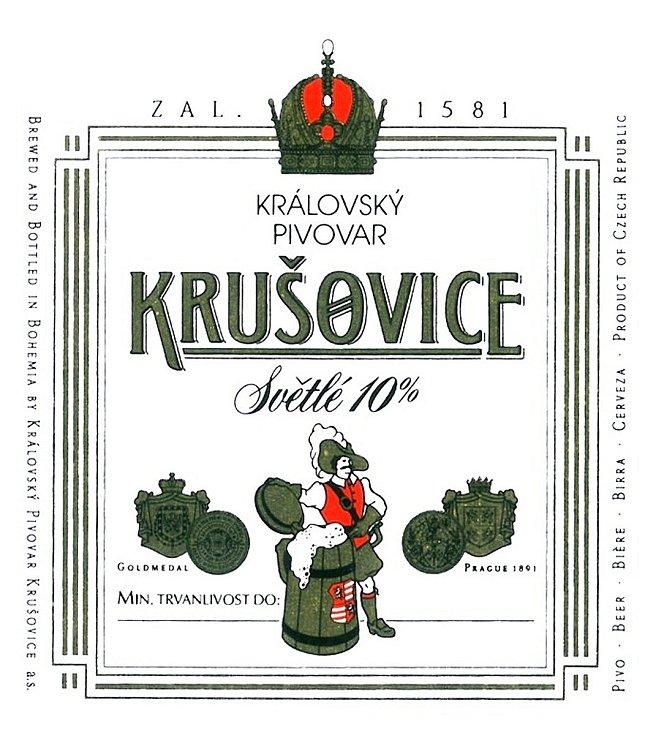 Královský pivovar Krušovice. Etikety používané na začátku 21. století.