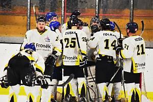 Hokejisté HC Rakovník porazili v prvním čtvrtfinálovém duelu Černošice 5:4.