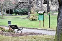 Promáčený je také chodník v parku T. G, Masaryka.