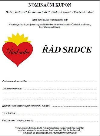 Nominační kupon - ŘÁD SRDCE