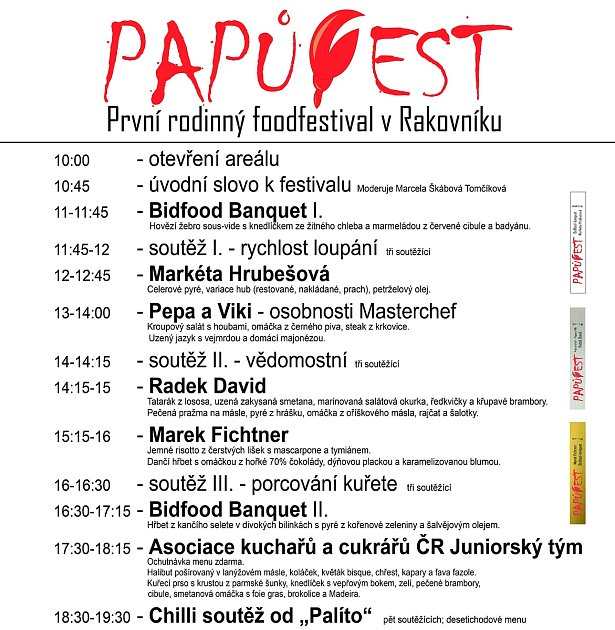 Program foodfestivalu Papůfest.