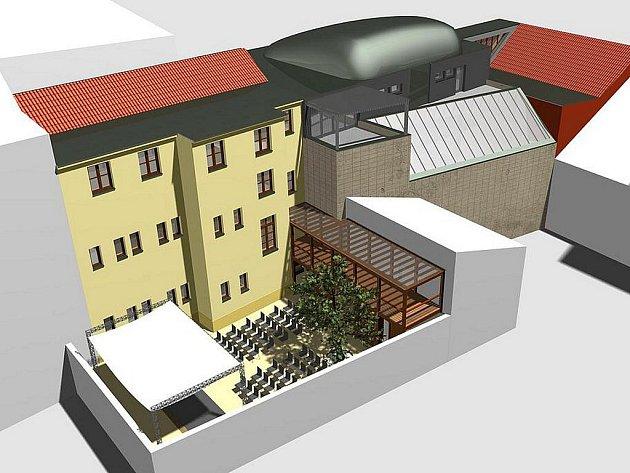 Náhled studie rekonstrukce budov staré školní jídelny.