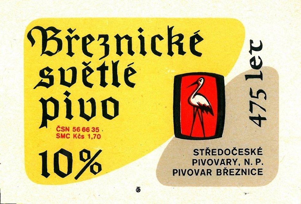 Žlutá barva dominovala na pivní etiketě březnické desítky v 80. letech.