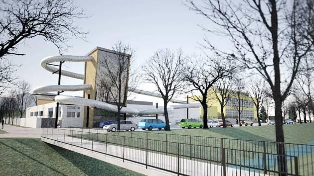 VIZUALIZACE možné podoby budovy rakovnického bazénu s tobogány