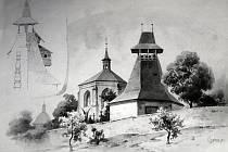 Kostel Nejsvětější trojice se zvonicí na kresbě Karla Liebschera kolem roku 1900.