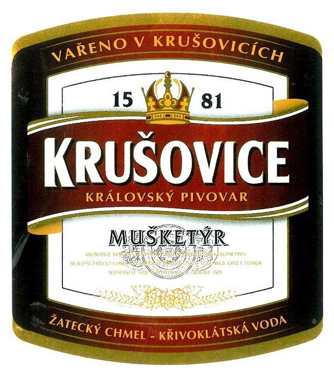 Královský pivovar Krušovice. Etiketa, kterou bychom donedávna na láhvích nalezli.