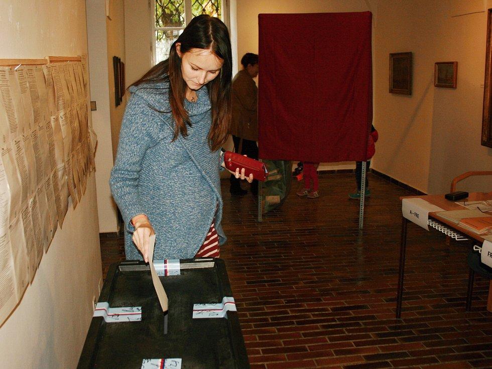Volby do Poslanecké sněmovny v Rabasově galerii v Rakovníku v roce 2017.