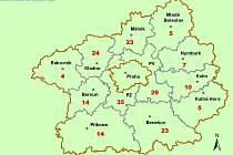 Mapa potvrzených případů nákazy novým koronavirem.