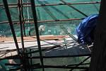 Oprava Velké válcové věže  na hradě Křivoklátě