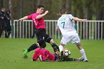 Z divizního fotbalového utkání Tatran Rakovník - Polaban Nymburk (3:0)