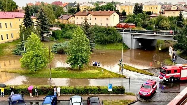 Centrum Rakovníka po přívalovém dešti.