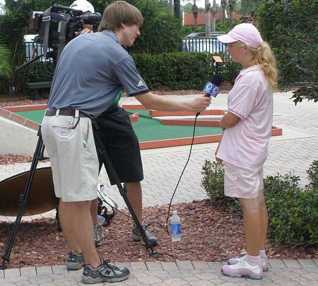 Olivia Prokopová zvolila pro finálový den zbrusu nové boty a také poskytla interview renomované televizní stanici The Golf Channel.