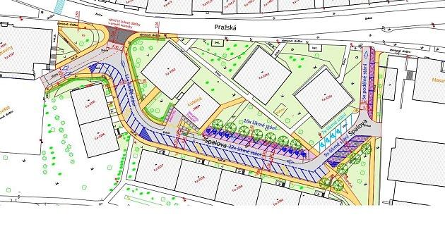 Návrh dopravního řešení Spalovy ulice v Rakovníku. Realizace by měla nabídnout až 66 parkovacích míst.